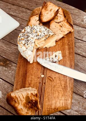 Cheese and bread board - Stock Image