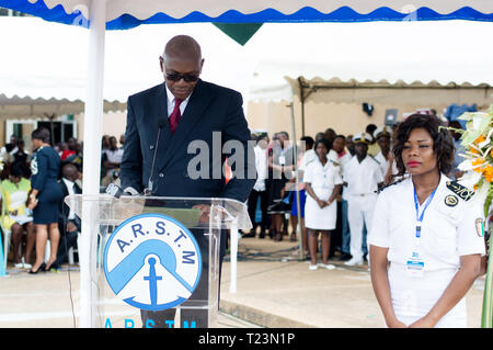 Abidjan, Ivory Coast - August 3, 2017: Epaulets ceremony for students leaving the Maritime Academy. speech of the godfather at the assembly - Stock Image