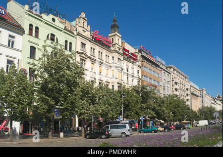 buildings in Vaclavske Namesti the Wenceslas Square new town Prague Czech Republic - Stock Image