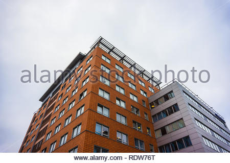 Poznan, Poland - November 16, 2018: Close up of the Globis office building on the Roosevelta street. - Stock Image