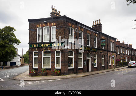 The Derby Arms Allerton Road,Woolton, Liverpool. A traditional English local pub. - Stock Image