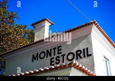Monte Estoril Railway Station Portugal - Stock Image