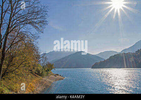 Lake Ledro Is An Idyllic Mountain Lake In The Gardasee Mountains In The Province Of Trento. - Stock Image