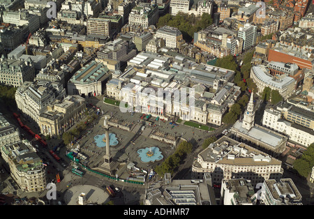 Aerial view of Trafalgar Square, Nelson's Column and the National Gallery in London - Stock Image