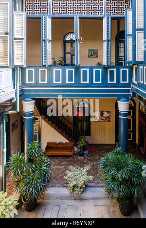 View of courtyard from first floor, Tjong A Fie Mansion, Medan, North Sumatra, Indonesia. - Stock Image