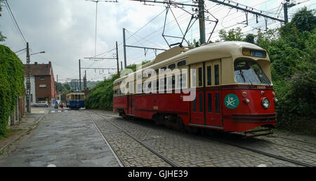 ASVi Museum PCC Car No.10409 & Four Wheel Tramcar A.9515 at Rue de l'Abbaye, Lobbes, Belgium - Stock Image