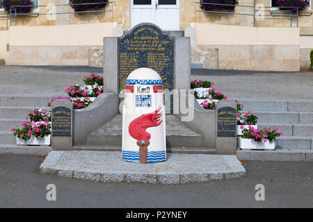 Sainte-Mere-Eglise, Normandy, France, June 16, 2018 Begin of the Liberation Route Km 0 ,St Mere Eglise was the first town on the West Front liberated - Stock Image