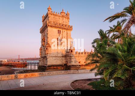 Belem Tower at sunset, Lisbon, Portugal. - Stock Image