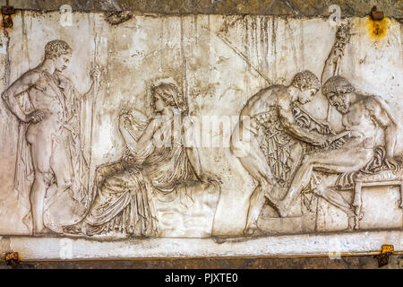 Mural In House of the Relief of Telephus, Herculaneum Campania, Italy - Stock Image
