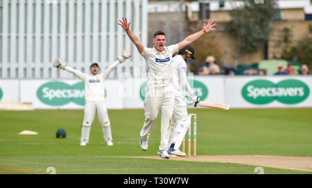 Hove Sussex, UK. 05th Apr, 2019. Gavin Griffiths of Leicestershire appeals for an LBW unsuccessfully against Sussex in the Specasavers County Championship Division Two match at the 1st Central County Ground in Hove on a sunny but cool first morning of the season Credit: Simon Dack/Alamy Live News - Stock Image