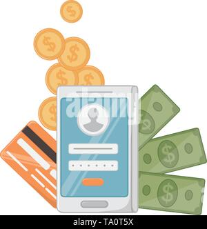 Smartphone design, Store shopping online ecommerce media market and internet theme Vector illustration - Stock Image