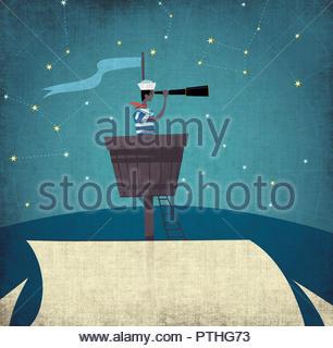 Sailor in crow's nest looking through telescope - Stock Image