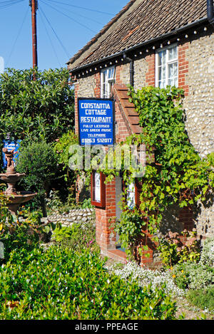 A view of the Constantia Cottage Restaurant in the North Norfolk coastal village of East Runton, Norfolk, England, United Kingdom, Europe. - Stock Image