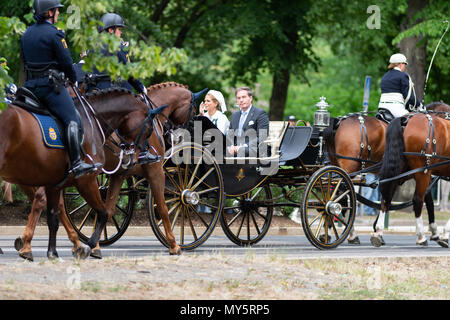 Stockholm, Sweden, June 6, 2018. The Swedish Royal Family celebrating the Swedish National Day in Stockholm. Princess Madeleine and Mr Christopher O´Neill. Credit: Barbro Bergfeldt/Alamy Live News  - Stock Image