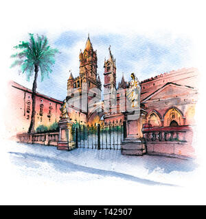 Watercolor sketch of Metropolitan Cathedral of the Assumption of Virgin Mary in Palermo in the morning, Sicily, Italy - Stock Image
