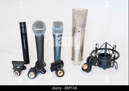 Selection of professional microphones - Stock Image