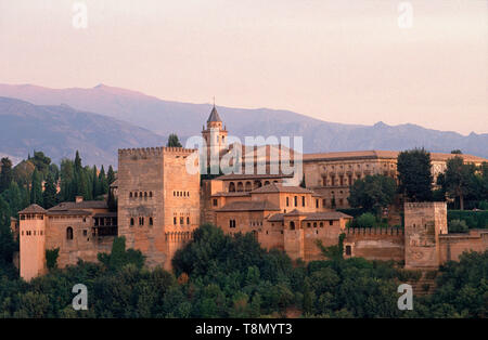 View of the Alhambra, Granada, Andalucia, Spain, Europe - Stock Image