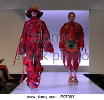 Southampton, England, UK,  8th June 2018. Solent university tonight held its BA (HONS) Fashion graduate show in Southampton to showcase the skills and imagination of the final year students. This collection is from student Roshani Limbu and represents how powerful women can be when they stand united.  Paul Watts// Alamy live news Credit: PBWPIX/Alamy Live News - Stock Image