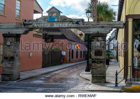 Entrance to Aviles Street along the Plaza de la Constitucion in the historic district of Saint Augustine, Florida USA - Stock Image