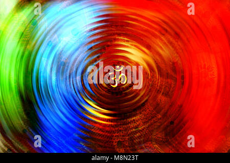 An abstract background with a spiral design of the Om Chakra - Stock Image