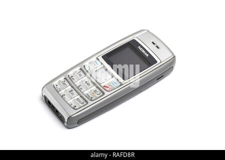 Nokia 1600 mobile phone or cell phone, from 2006. Well used. - Stock Image