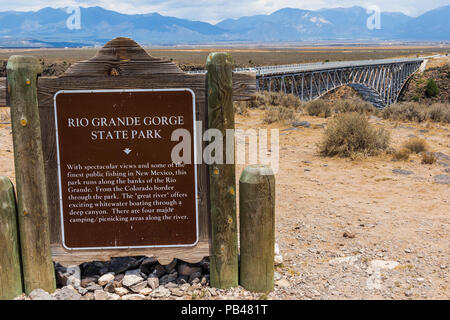 TAOS, NM, USA-6 JULY 18:  A descriptive sign at the Rio Grande Gorge Bridge, on US 64 south of Taos  the second highest bridge in the US Hwy system. - Stock Image