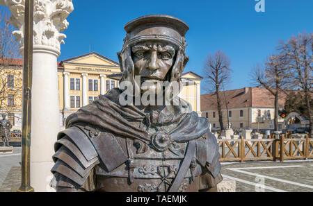ALBA IULIA, ROMANIA - February 28, 2019: A roman soldier metal statue inside the Alba Carolina citadel in Alba Iulia, Romania. - Stock Image