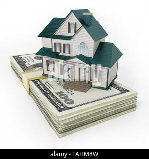 House standing on lots of 100 dollar bills. 3D illustration. - Stock Image