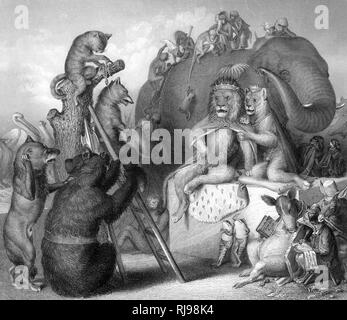 REYNARD AT THE PLACE OF EXECUTION. A cat hangman ties the rope around Reynard's neck looked on by the Lion King & Queen and their court including a smoking frog! - Stock Image