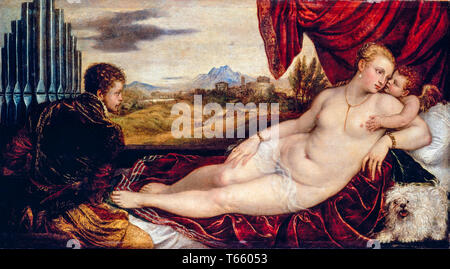 Titian, Venus with the Organ Player, painting, c. 1550 - Stock Image