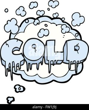 freehand drawn thought bubble cartoon cold text symbol - Stock Image