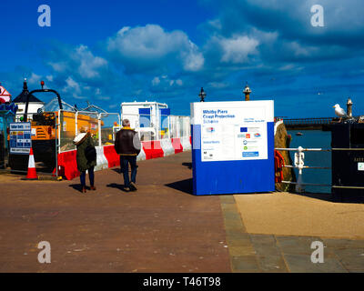 Civil Engineering work site on the Whitby Piers Protection Scheme is in progress on the West Pier - Stock Image