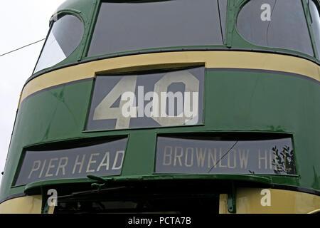 Wirral public Tram, Green Cream Pierhead Brownlow hill tram, Merseyside, North West England, UK - Stock Image