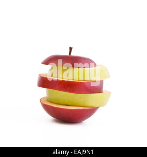 Mixed green and red slices of apple - Stock Image