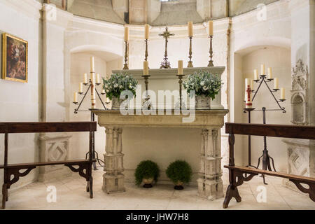 Chapel Altar Chateau de Chenonceau Loire Valley France - Stock Image