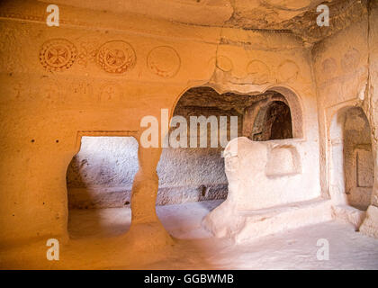geography / travel, Turkey, Middle East, Cappadocia, cave church at the Zelve Valley, Additional-Rights-Clearance - Stock Image