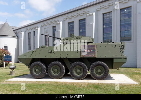 The 39 brigade LAV III monument honoring Canadian Armed Forces who served and died in Afghanistan, Seaforth Armoury, Vancouver, BC, Canada - Stock Image