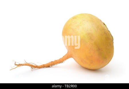 Ripe yellow turnip isolated on white - Stock Image