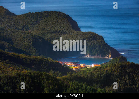 Armintza village in the Basque Country from Jata mountain - Stock Image