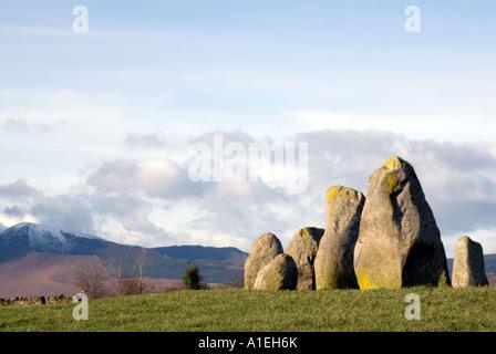 Castlerigg Stone Circle and Blencathra Saddleback near Keswick in the English Lake District National Park Cumbria - Stock Image