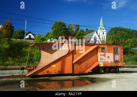 Railway snow plough parked in Island Pond, Vermont, USA. - Stock Image