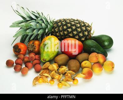 Assorted tropical fruit, including kiwi, lychee, mango, pineapple, papaya, apricot, persimmon, physalis, cape gooseberry - Stock Image