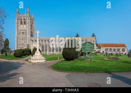 Long Melford Church, view of Holy Trinity Church - a large medieval parish church in the Suffolk village of Long Melford, England, UK. - Stock Image