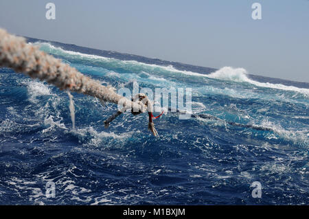 Big Brother Island in the Red Sea, mooring ropes during a storm - Stock Image