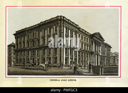 The General Post Office, 1880 high quality steel engraving of the main post office for London between 1829 and 1910, the HQ of the GPO of the UK, and England's first purpose-built post office completed in 1829 to designs by Robert Smirke - Stock Image