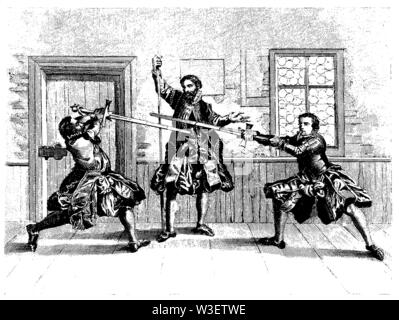Fencing Exercise (1570), ,  (cultural history book, 1875) - Stock Image