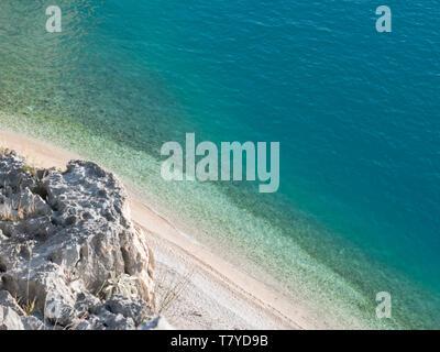 Scenic aerial view on hidden beach Nugal in Croatia at summer season - Stock Image