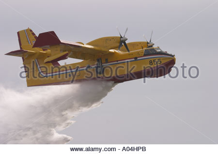 Canadair CL-415 '855' water bomber Croatian Air Force delivers water bomb during demonstration - Stock Image