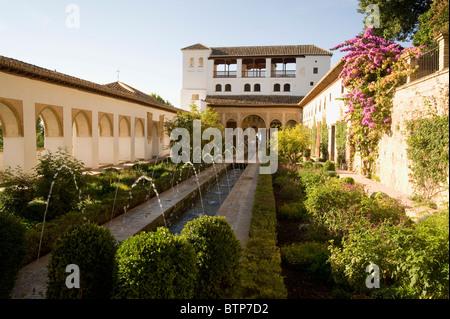 Gardens, Alhambra Palace, Granada, Andalucia, Spain - Stock Image