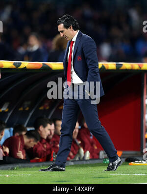 Arsenal manager Unai Emery during the UEFA Europa League quarter final second leg match at the San Paolo Stadium, Naples. - Stock Image